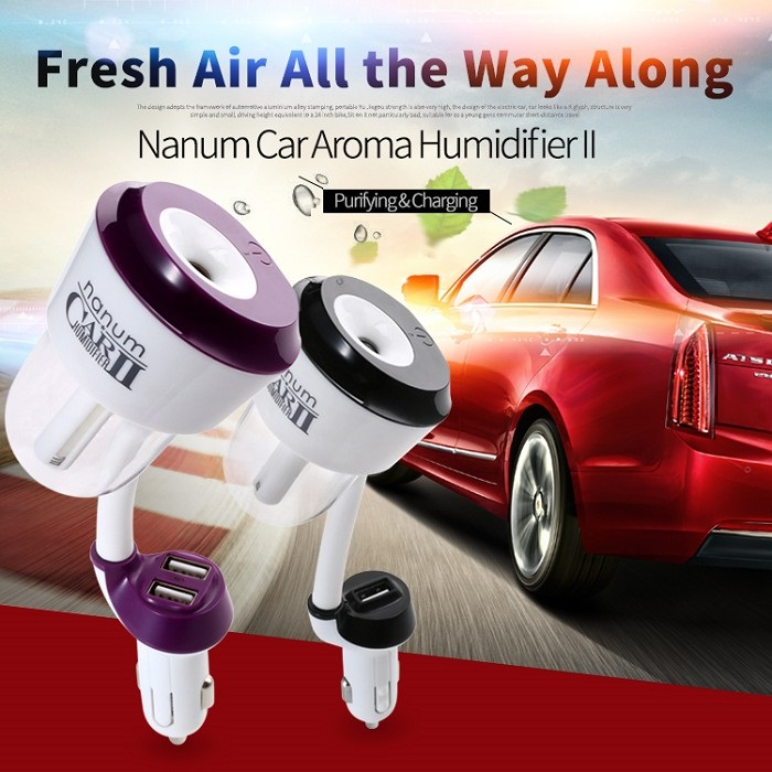 Nanum II Dual USB Port Car Air Humidifier Air Purifier
