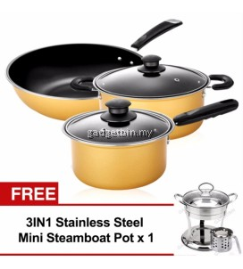 5pcs Nonstick Cookware Wok Frying Pan, Pot Induction Cookware Set (Yellow) FREE Mini Steamboat Po