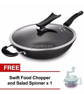 32cm Marble Stone Nonstick Wok Frying Pan with Glass Lid Induction Cookware Set (Black) FREE SwiftChopper