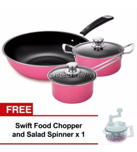5pcs Nonstick Cookware Wok Frying Pan, Pot Induction Cookware Set (Pink) FREE SwiftChopper