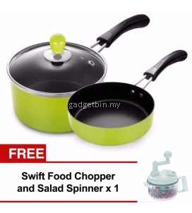 3pcs Nonstick Cookware Sauce Pan & Saute Pan Induction Cookware Set FREE 5IN1 FoodContainer