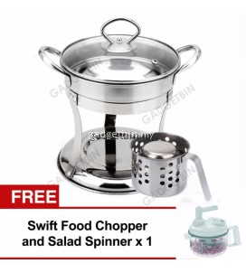 MAIDRONIC 3in1 Stainless Steel Mini Steamboat Pot, Food Warmer & Chafing Dish Set FREE SwiftChopper