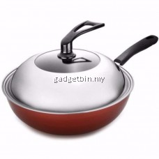 32cm Classic Nonstick Wok Frying Pan with Lid Induction Cookware Set FREE SwiftChopper