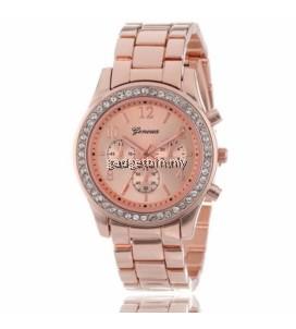 Geneva Steel Belt Elegant Quartz Watch Diamond Chronograph CRT Women's Watch - 3 Options