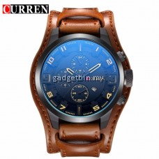 Original CURREN 8225 Men's Sports Full Leather Strap Date Watch- Full Grey  - 4 Options