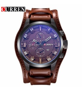 Original CURREN 8225 Men's Sports Full Leather Strap Date Watch- Full Grey  - 4 Options