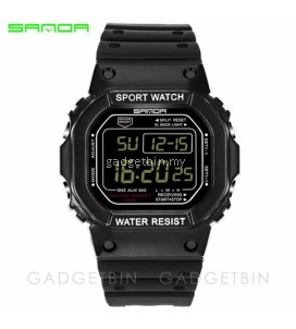 Original SANDA 329 Classic C Style Waterproof Outdoor Sports Men Shockproof Digital Watch(Full Black)