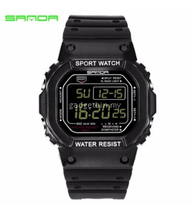 Original SANDA 293 Classic C Style Waterproof Outdoor Sports Women Shockproof Digital Watch (Full Black)