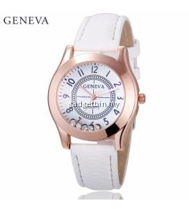 Geneva Diamond Twinkles Leather Quartz Wristwatch Fashion Women's Watch (Rosegold White)