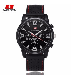 Swiss Army 002 Military Men's Silicone Strap 3 Dial Display Fashion Sport Watch (Full Black)