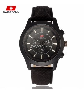 Swiss Army 003 Military Men's Strap 3 Dial Display Fashion Sport Watch (Full Black)