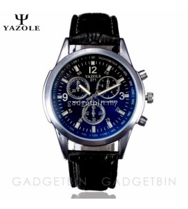 Original YAZOLE Vintage Leather Band Stainless Steel Sport Military Quartz Men's Wrist Watch