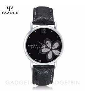 Original YAZOLE Silver Flower Pattern Round Dial Stainless Steel Strap Leather Watch For Women