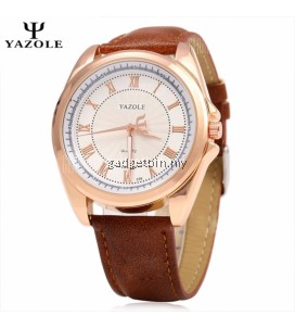 Original YAZOLE Signature Leather Band Stainless Steel Business Military Quartz Men's Wrist Watch