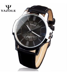 Original YAZOLE Round Dial Leather Band Stainless Steel Business Military Quartz Men's Wrist Watch