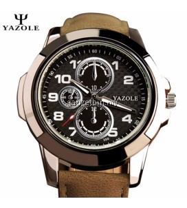 Original YAZOLE Big Round Dial Leather Band Stainless Steel Business Military Quartz Men's Wrist Watch (Brown Black)