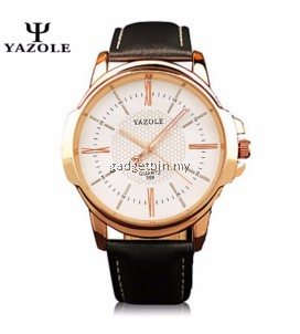 Original YAZOLE Roman Leather Band Stainless Steel Business Military Quartz Men's Wrist Watch
