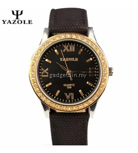 Original YAZOLE Gold Rhinestones Ladies Fashion Leather Strap Luxury Design Watch For Women
