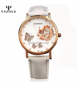 Original YAZOLE Crystal Butterfly Gold Flower Stainless Steel Leather Strap Watch for Women