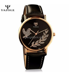 Original YAZOLE Crystal Pigeon Gold Flower Stainless Steel Leather Strap Watch for Women