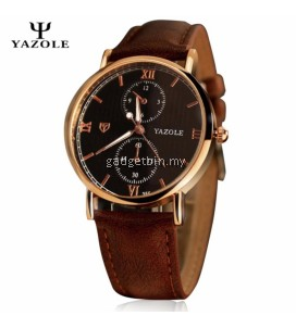 Original YAZOLE Classic Leather Band Stainless Steel Business Military Quartz Men's Wrist Watch