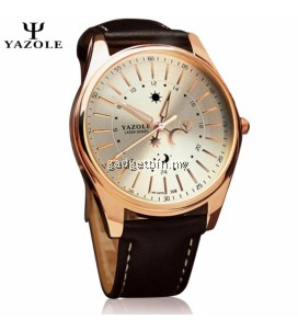 Original YAZOLE Luminous Leather Band Stainless Steel Business Military Quartz Men's Wrist Watch