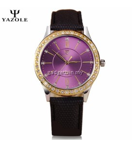 Original YAZOLE Violet Rhinestones Ladies Fashion Leather Strap Luxury Design Watch For Women (Black)
