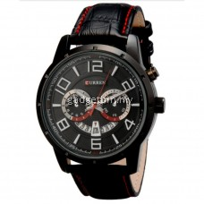 Curren 8140 Black PU Leather Quartz Watch (Full Black) FREE Water Bottle MyBottle