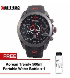Curren Water Resistent Military 8166 Watch Man (Black) FREE Water Bottle MyBottle