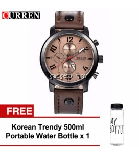 Curren 8192 Luxury Casual Men Watches Sports Watch (Brown White) FREE Water Bottle MyBottle