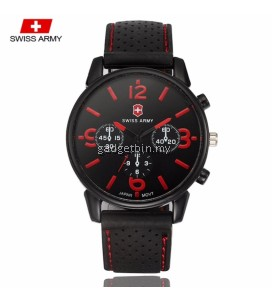 Swiss Army 1102 Military Men's Silicone Strap 3 Dial Display Fashion Sport Watch