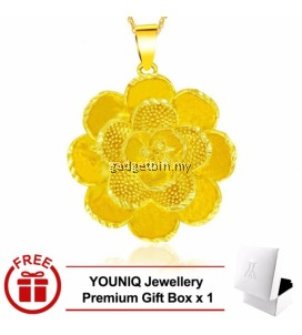 YOUNIQ Premium Luxury Desert Rose 24K Gold Plated Pendant