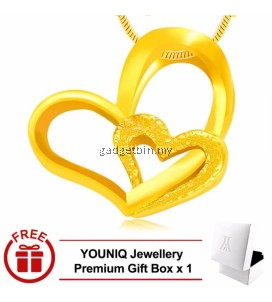 YOUNIQ Premium Heart to Heart 24K Gold Plated Pendant