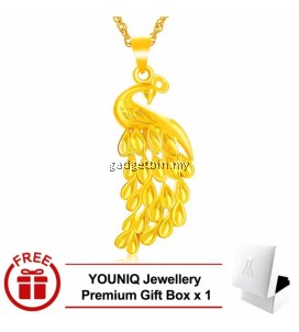 YOUNIQ Premium Peacock 24K Gold Plated Pendant