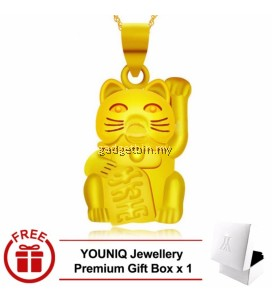 YOUNIQ Premium Fortune Cat 24K Gold Plated Pendant