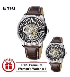 [ BUY 1 FREE 1 ] Eyki Skeleton Automatic EFL8560 Tourbillon Man Leather Watch White/Black Strap - 2 Options