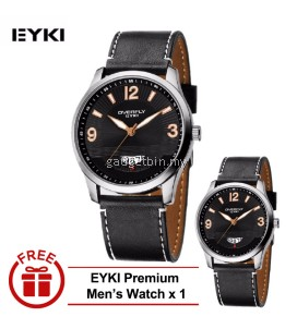 [ BUY 1 FREE 1 ] EYKI OVERFLY Date Subdial Carbon Man Leather Watch White W8533  - 3 Options