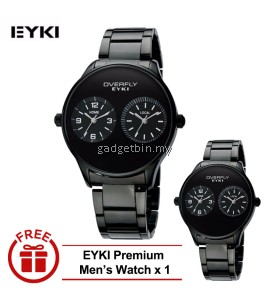 [ BUY 1 FREE 1 ] Eyki Overfly Sil black Dual Time Zone S.Steel Watch W8491  - 3 Options