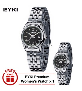 [ BUY 1 FREE 1 ] EYKI E-Times W8470 Ladies Stainless Steel Watch Silver Black