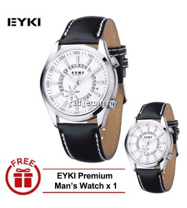 [ BUY 1 FREE 1 ] Eyki Overfly Leather Watch Silver White W8453G-1