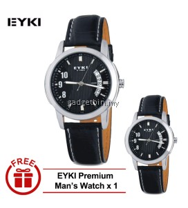 [ BUY 1 FREE 1 ] EYKI E-TIMES UNIQUE Man Leather Watch W8408GL White Dial Brown
