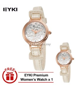 [ BUY 1 FREE 1 ] Eyki Kimio Women's White Leather Watch KW541S