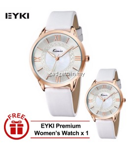 [ BUY 1 FREE 1 ] Eyki Kimio KW528M Silver Ladies Red Leather Watch