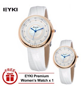 [ BUY 1 FREE 1 ] Eyki Kimio KW521M Ladies Rhinestone Quartz Luxury Leather Watch - Gold White