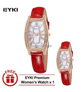 [ BUY 1 FREE 1 ] Eyki Kimio KW516 Retro Style Ladies Leather Strap Rhinestone Silver White  - 2 options