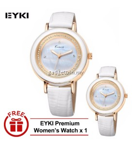 [ BUY 1 FREE 1 ] Eyki Kimio KW513 Ladies Fashion Watches Genuine Leather Rhinestone Wristwatches 3ATM Water Resistant Silver Red