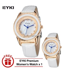 [ BUY 1 FREE 1 ] Eyki Kimio KW512 Ladies Gold-plated White Leather Watch