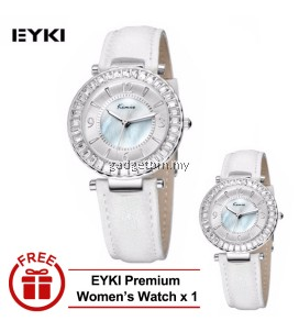 [ BUY 1 FREE 1 ] Eyki Kimio KW501M Silver Ladies White Leather Watch