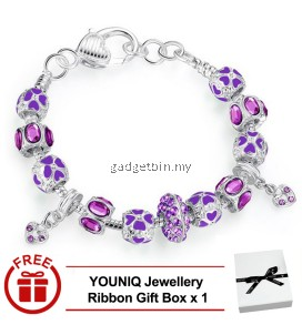 YOUNIQ 925S Silver Charm Bracelet with Autumn Collection Purple Crystal Murano Glass Beads for Her Gift PA1398