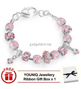 YOUNIQ 925S Silver Charm Bracelet with Autumn Collection Pink Crystal Murano Glass Beads for Her Gift  PA1400